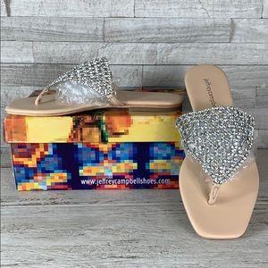 Jeffrey Campbell Abelia Crystal Sandal Nude/Silver